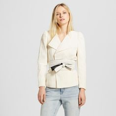 Work it: the Belted Blazer - Who What Wear™ is destined to be the 9-to-5 piece you turn to when you want standout style. Elegantly cut with a hint of fullness at the shoulder, the sleeves taper to a slim fit at the wrist; pulling it together is the obi-inspired wrap belt (as seen on so many runway looks).