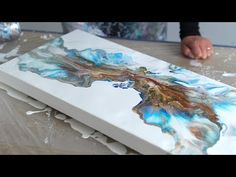Acrylic Pouring – Large Painting – Metallics & Blue Fluid abstract art – Hobbies paining body for kids and adult Acrylic Pouring Techniques, Acrylic Pouring Art, Acrylic Art, Pour Painting, Large Painting, Blue Abstract Painting, Do It Yourself Inspiration, Contemporary Abstract Art, Fluid Acrylics
