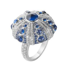 Boucheron Rives du Japon. Oursin Ring in white gold, diamonds, and sapphire