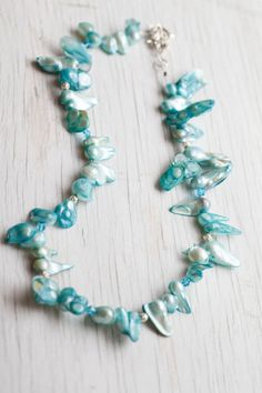 Turquoise Blue Freeform Freshwater pearls