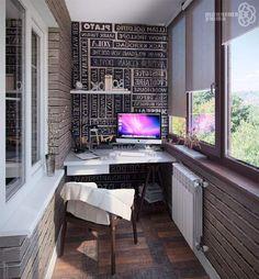 Домашнее рабочее место, возможно, преобразить за счет оригинального размещения его на балконе.