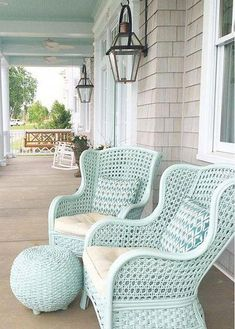 Painted Outdoor Furniture: #Beachcottages Painted Outdoor Furniture, Painting Wicker Furniture, Colorful Furniture, Beach Style Outdoor Furniture, Furniture Layout, Antique Furniture, Furniture Ideas, White Wicker Furniture, Cane Furniture