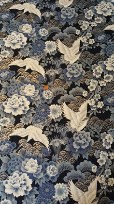 Japanese Fabric, Cranes and Waves Grey, with Silver Outlines Japanese Textiles, Japanese Patterns, Japanese Prints, Japanese Paper, Japanese Fabric, Purple Aesthetic, Aesthetic Art, Future Wallpaper, Japan Crafts