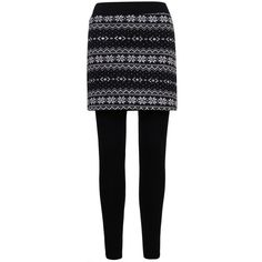 ililily Nordic Snowflakes Thick Warm Fleece Lined Skirt W/ Stretch... ($27) ❤ liked on Polyvore featuring skirts, black stretchy skirt, black stretch skirt, stretch skirt, black skirt and stretchy skirt