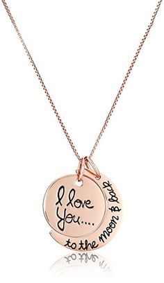 """Sterling Silver Rose-Gold Flashed """"I Love You To The Moon and Back"""" Two Piece Pendant Necklace, 18"""""""