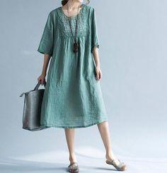 Losse groene jurk bruine jurk katoen en linnen pop door MaLieb