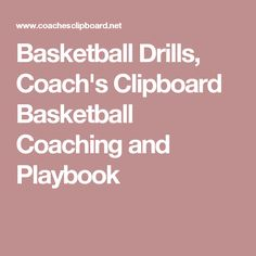 Basketball Drills, Coach's Clipboard Basketball Coaching and Playbook