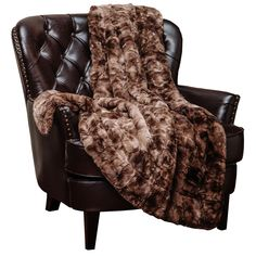 Chanasya Fuzzy Faux Fur Throw Blanket - Light Weight Blanket for Bed Couch and Living Room Suitable for Fall Winter and Spring Inches) Chocolate