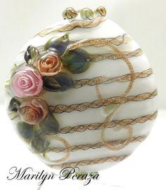 LAMPWORK BEADS|Lampwork Jewelry Designs|Lampwork Bead Classes|Raleigh|Durham|NC|North Carolina|Rose Murrini |Sculptured Rose|Handmade by Bead Artist, Marilyn Peraza|Peraza Beads|PB&J|Steampunk