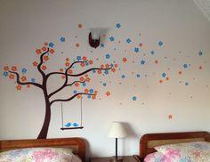 Wall decal - Árbol con flores azul y naranja - vinilo decorativo