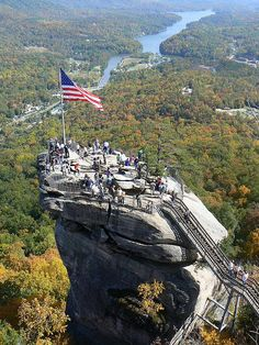chimney rock park in north carolina - unique spot to visit, elevator runs up the middle of the rock