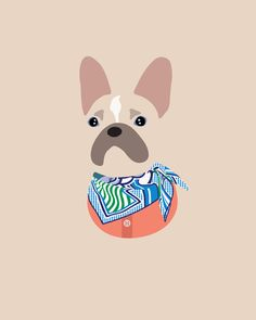 Custom Dog Portrait by Woof  Models - French Bulldog, Frenchie. Model is wearing Hermes Pégase Pop Vintage Silk Scarf & Marni Cropped Cardigan.