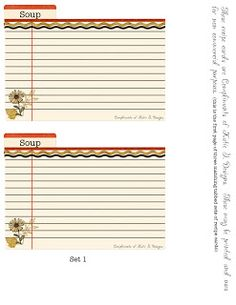 Vintage Recipe Card Template  Recipe Cards Free Printables And