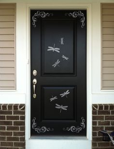 Looking for a fun way to dazzle your door? Splash these classy dragonflies and flourishes on the corners of your door and in their panels for a burst of fun, whether coming or leaving! <br /> <br />Shown in Satin Silver sized 22 x Exterior Front Doors, Entrance Doors, Doorway, Dragonfly Decor, Knobs And Knockers, Cool Doors, Front Door Design, Painted Doors, Beautiful Wall