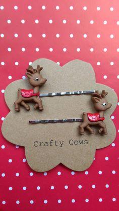 Christmas reindeer hairslides - reindeer bobby pins hair grips uk christmas stocking filler secret santa