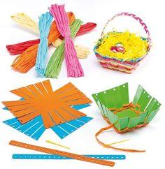 Ostern Korb Raffia Weaving Kits – Bakerross - Basket and Crate Card Basket, Origami, Weaving Yarn, Diy Ostern, Easter Crafts For Kids, Arts And Crafts Supplies, Spring Crafts, Easter Baskets, Crafts To Make