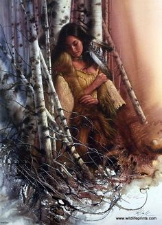 """A Native American woman finds peace and quiet in the birch trees in Lee Bogle's Quiet Refuge. This print is signed and numbered and is available unframed in size of 21.5""""x29"""""""