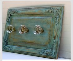 Coastal Cottage Blue Wall Rack with Antique Glass Knobs repurposeing cabinet doors Cabinet Door Crafts, Old Cabinet Doors, Old Cabinets, Old Doors, Kitchen Cabinets, Repurposed Items, Repurposed Furniture, Painted Furniture, Diy Furniture