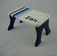Kid Step Stool - Blue Wooden Personalized Stool - Tip-resistant Step Stools By…