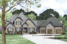 House Plan 82164 | Craftsman European French Country Plan with 3752 Sq. Ft., 4 Bedrooms, 4 Bathrooms, 3 Car Garag