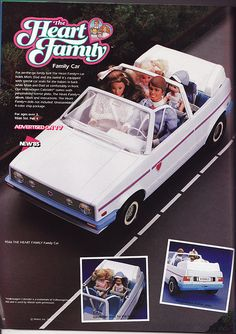I loooooved playing with the Heart Family as a kid! Better than Barbie! Mattel Barbie, Barbie Car, Vintage Barbie Dolls, Barbie Stuff, 1980s Barbie, Barbie Dream, Barbie Fairytopia, Pink Jeep, Retro Toys