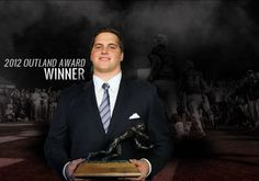 Very proud of my nephew Luke Joeckel. Claims Outland Trophy! Introduced him as Joel Joeckel.  A funny moment.  Our last name is usually butchered.  Way to go Dave and Reecanne!  Great parenting!