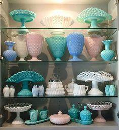 Antique Glassware, Vintage Kitchenware, Vintage Jars, Vintage Dishes, Pyrex Display, Milk Glass Cake Stand, Green Milk Glass, Pink Milk, Turquoise Glass