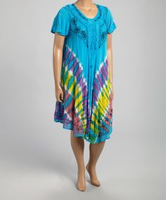 This Turquoise & Yellow Embroidered Tie-Dye Dress - Plus is perfect! #zulilyfinds