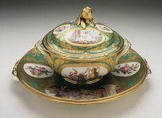 Covered Bowl and Stand (Écuelle) Alternate Title: Écuelle Sèvres Porcelain Manufactory (France, Sèvres, founded 1756-present) France, Sèvres, 1776