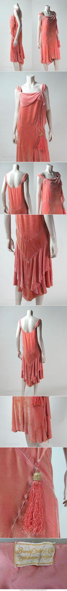 1920's Peachy Pink Silk Velvet Dance Dress From Bonwit Teller