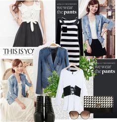 """Long Sleeve V Neck Women Blue Jean Coat"" by fashionsara1987 on Polyvore"
