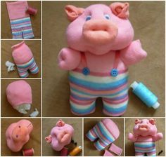 How cute is this Sock Piglet and he's very easy to make.  Get the Tutorial now and check out the Sock Dragon while you're here.