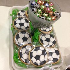 Soccer cookies and soccer choco balls