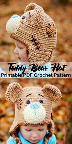 Make a cute teddy bear hat. Animal Hat Crochet Patterns - A More Crafty Life Crochet Bear Hat, Crochet Animal Hats, Easy Crochet Hat, Crochet Hats For Boys, Crochet Teddy, Baby Hats Knitting, Crochet Toddler Hat, Kids Crochet, Baby Hat Patterns