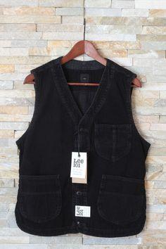 New LEE 101 Waistcoat Utility Vest Premium Quality Cords Jacket Black S/M/L/XL