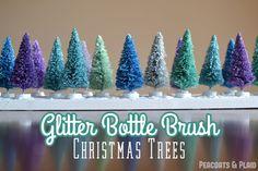 Peacoats and Plaid: Glitter bottle brush tree winter scene. [tutorial]