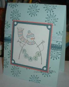 Simple Snowman by crooked river - Cards and Paper Crafts at Splitcoaststampers Sno Cones, Stamping Up, Snowman, Paper Crafts, River, Simple, Frame, Cards, Picture Frame