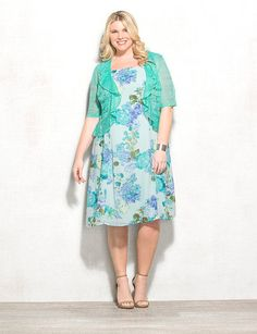 Plus Size Floral Crochet Ruffle Jacket Dress