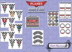 Disney Planes Printable Birthday Party Kit Racing Flag Design, DIY Print, Instant Download; Disney Planes Birthday Party Decorations