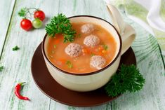 Meatball tomato soup Ingredients: for meatballs: 300 g minced meat 1 tbsp. l breadcrumbs 1 egg salt and pepper to taste for soup: 1 carrot 1 onion 2 Tomato Soup Ingredients, Funny Pictures Of Women, Carrot Fries, Mince Meat, Raspberry Ketones, Easy Food To Make, Bon Appetit, Dog Food Recipes, Cool Things To Buy