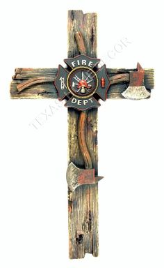 Fireman Decorative Wall Cross Axe Fire Department Emblem Firefighter Decor 20x11