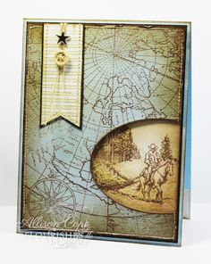 "Although this was designed to be a Christmas card... you could use it for any occassion.  I love how they made the ""bolo"" by using a button & a star with string. They also used an antique-map theme for the cover with an antiqued oval stamp of a cowboy & his horse.  Your Memories: Sneak Peek... Country Time Christmas."