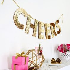Learn how to make this sequin letter garland. It's so easy! Perfect for the holidays, New Years, or a birthday party.