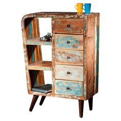 Make a feature of trinkets or organise your media collection with this 5-drawer unit, handcrafted from reclaimed wood. Product: