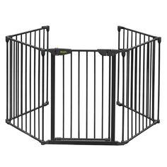 192in Baby Safety Gate Metal Panel Play Yard Kids Pet Dog Door Hall Way Barrier