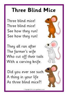 A printable sheet featuring the words to the 'Three Blind Mice' nursery rhyme in a simple format for use with children. Nursery Rhyme Crafts, Nursery Rhymes Lyrics, Nursery Rhymes Preschool, Nursery Art, Creepy Nursery Rhymes, Songs For Toddlers, Rhymes For Kids, Kindergarten Songs, Preschool Songs