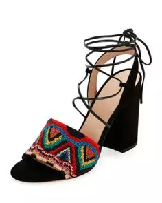 X3DQS Valentino Native Beaded Lace-Up Sandal, Multicolor/Nero