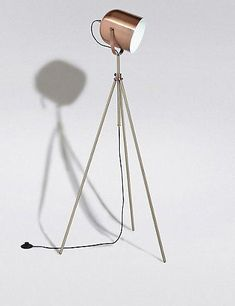 Marks and Spencer Conran Pinero Tripod Floor Lamp - ShopStyle Copper Floor Lamp, Diy Floor Lamp, Copper Lamps, Arc Floor Lamps, Large Floor Lamp, Rustic Lamps, Antique Lamps, Living Room Lighting Design, Tall Lamps