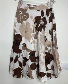 1b5e0847ffe Phase Eight Floral Linen Skirt Size 10 Beige Brown Midi Flared  fashion   clothing