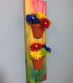 Wall Flowers, Tie Dye Art, Flower Power, Flower Pots, Flower Art, Flower Wall Plaque, Recycled Art, Tie Dye Flowers, Gift Ideas, Spring Art by AmericanGreenCrafts on Etsy